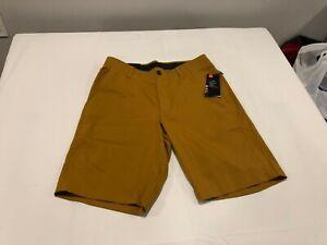 NWT $65.00 Under Armour Mens Golf Showdown Shorts Yellow Ochre Size 32