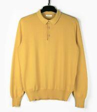 BOGLIOLI (Sz M) Yellow Cotton Fine Knit Polo Henley Button Jumper Sweater Collar