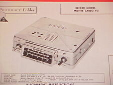 1962 BECKER AM RADIO SERVICE MANUAL MODEL MONTE CARLO TG CHEVROLET FORD CHRYSLER
