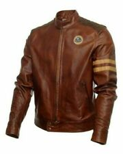 Classic Lotus Biker racing Brown Leather Jacket