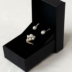 Freshwater Pearls set in Solid 18k Yellow Gold, Ring 4.5, Post Earring, Demi Set