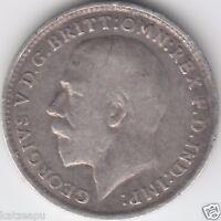 Großbritannien 1919 George V.- Three pence  Silver Münze