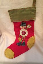 Old Fashioned Christmas Stocking With A Snowman