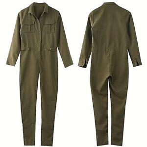 Army Green Ladies Jumpsuit Solid Casual Woman Bodysuit Long Sleeve Romper