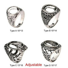 Fashion Tibetan Silver Alloy Bezel Cameo Hollow Womens Adjustable Wedding Ring