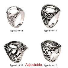 Shiny 925 Tibetan Silver Alloy Bezel Cameo Hollow Womens Adjustable Ring