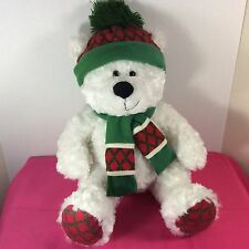 "Hugfun International Plush 19"" Stuffed Animal White Teddy Bear Winter Hat/Scarf"