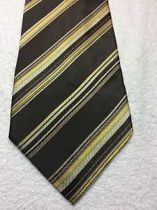 BANANA REPUBLIC MENS TIE BROWN WITH GOLD YELLOW TAN STRIPES 3.75 X 59 NWOT