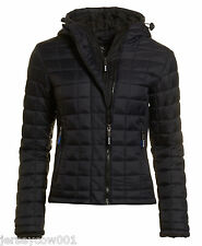 NEW £90 SUPERDRY SMALL, SIZE 10 DARK NAVY BLUE HOODED BOX QUILT FUJI JACKET