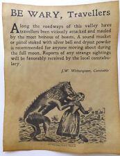 Werewolf Warning Poster, Halloween Decor, big 11x14, party, monster