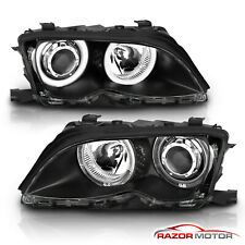 [Dual Led Halo] 2002 2003 2004 2005 Bmw E46 3-Series Black Projector Headlights (Fits: Bmw)