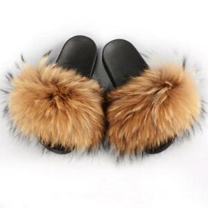 2019 Women's Real Raccoon Fur Fluffy Flat Slippers Slider Luxury Summer Shoes