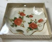 Vintage FIESTA Glass Plate. 1960s. Retro FLUTED. Red Roses Transfer. BOXED