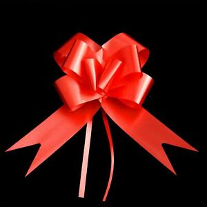 10 x 50mm Large Pull Bows Red Satin Ribbons Wedding Gifts Wrap Car Decorations