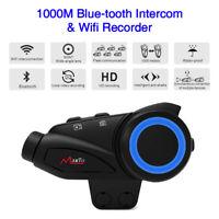 1KM Motorcycle 6 Riders Intercom Helmet Headphone Bluetooth Wifi Recorder Camera