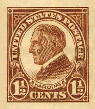 1926 1 1/2c Warren Harding, Brown, Imperforate Scott 631 Mint F/VF NH