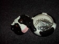 cow ceramic trinket holder about 3 inch across 2 inch high good cond. has MU on