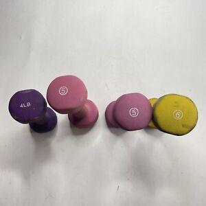 Set Of 4 Dumbbell Neoprene Weights 20 lbs Total Yoga Running 1x4lb, 2x5lb, 1x6lb