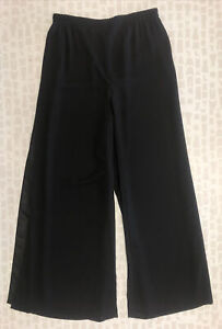 Cachet Women Black High Rise Elastic Waist Layered Flowy Wide Leg Pants Size 16