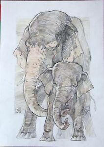 Elephants  charcoal sepia Mixed Media by Avdeev original drawing Russia