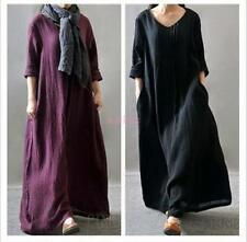 Folk Custom Casual Women Loose Long Sleeve Linen A-Line Maxi Dress Lagenlook SZ