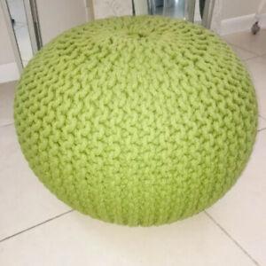 Round Knit Pouf Green Ottoman Pouffe Footstool Foot Stool Poof Floor Seat Decor