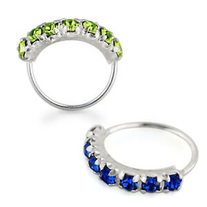 7 CZ's Paved 925 Sterling Silver Seamless Continuous Nose Hoop Ring