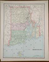 "1900 Vintage RHODE ISLAND Atlas Map 11""x14"" Old Antique Original JOHNSTON"