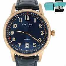 BRAND NEW Tiffany & Co. CT60 42mm 18K Rose Red Gold Blue Dial Leather Date Watch