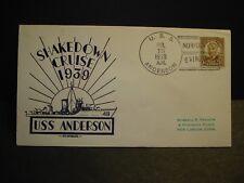 USS ANDERSON  DD-411 Naval Cover 1939 SHAKEDOWN CRUISE Cachet NORFOLK, VA