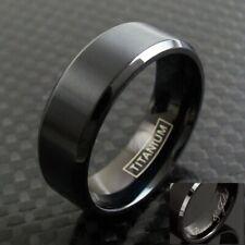 6/8mm Black Titanium Men's Brushed Finish Stripe Wedding Band Ring Size 5-15