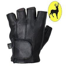 Top Grade Deer Skin Leather Fingerless Motorcycle Gloves Gel Palm