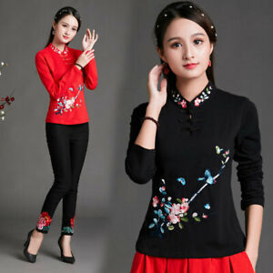 Women Embroidered Floral Long Sleeve T-shirt Cotton Folk-custom Top Loose Casual