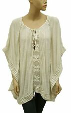 148625 New $128 Free People Rave On Crochet Lace Butterfly Kimono Tunic Top L