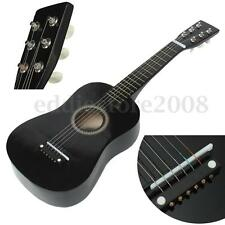 Black 6 String Beginner Guitar Acoustic Kid Musical Instrument w/ Pick + Wire