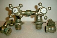 NICE SET OF ANTIQUE NICKEL BRASS FAUCETS FOR CAST IRON COUNTRY KITCHEN SINK TUB+