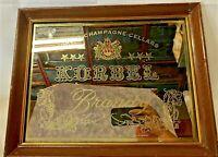 VINTAGE 1980's FRAMED KORBEL CHAMPAGNE CELLARS BRANDY PROMOTIONAL MIRROR SIGN