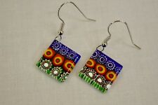 Authentic Mosaic Murano Glass Earrings, Square Multi