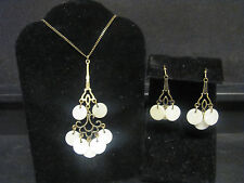 Avon White Mother of Pearl Necklace & Earring Set