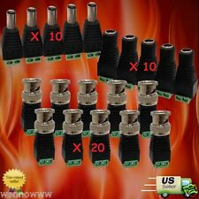 10Pairs CAT5 to BNC Coaxial Video Balun & Male Female DC Power Connectors