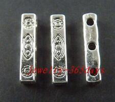 80pcs Tibetan Silver 3-Holes Bars Spacers 16x3mm 10499