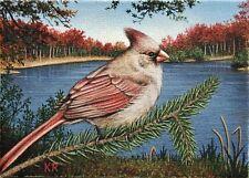 Aceo Cardinal bird lake female Autumn Fall landscape water Signed Ltd (25) ed