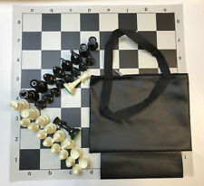 TOURNAMENT CHESS SET COMBO: BLACK BAG, BLACK VINYL CHESS BOARD &  CHESS PIECES