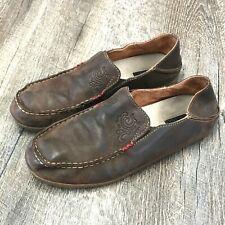 Olukai Nohea Slip On Shoe Women's Brown Leather Folding Heel Size 8.5