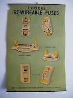 1930's RARE Vintage Industrial Wall Art Electrical Appliance Poster ~ FUSES