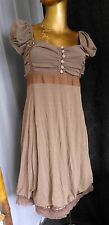 New SISTE's Bubble Dress Milk Chocolate Combination Knit Chiffon Lace Italy