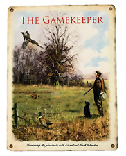 METAL TIN GAMEKEEPER SIGN PLAQUE SHED PHEASANT COUNTRY GIFT FARMING SHOOTING