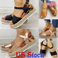 Women's Buckle Platform Shoes Peep Toe Braided Espadrille Wedge Summer Sandals