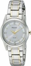 Pulsar Women's Solar Crystal Accents Two Tone Stainless Steel Watch PY5003