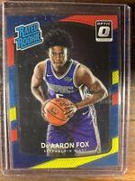 De' Aaron Fox Rated Rookie Basketball Card #196 Donruss Optic Red Prizm RC NBA